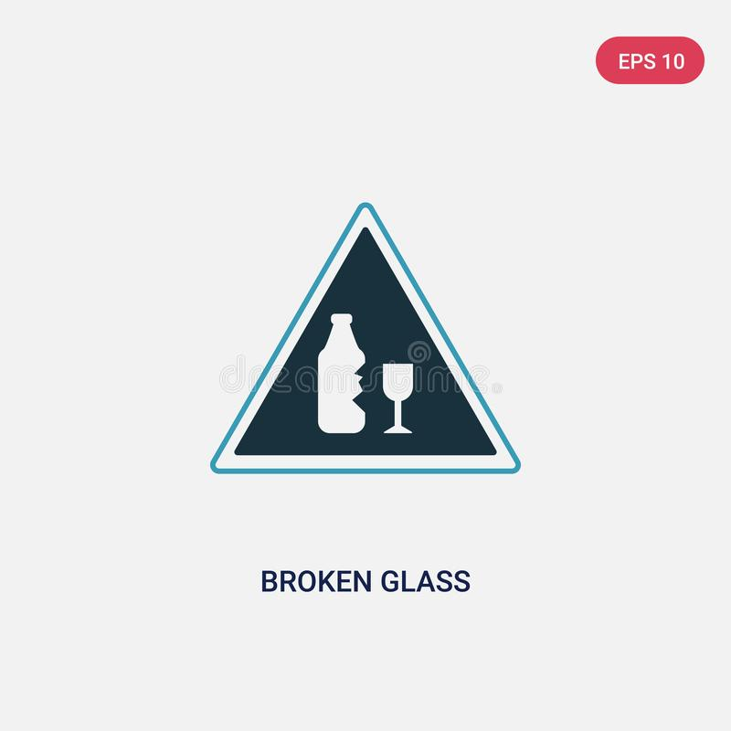Two color broken glass vector icon from signs concept. isolated blue broken glass vector sign symbol can be use for web, mobile. And logo. eps 10 royalty free illustration