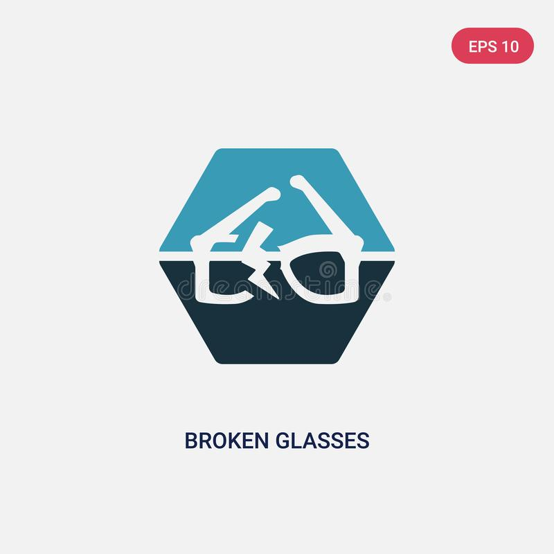 Two color broken glasses vector icon from signs concept. isolated blue broken glasses vector sign symbol can be use for web,. Mobile and logo. eps 10 stock illustration