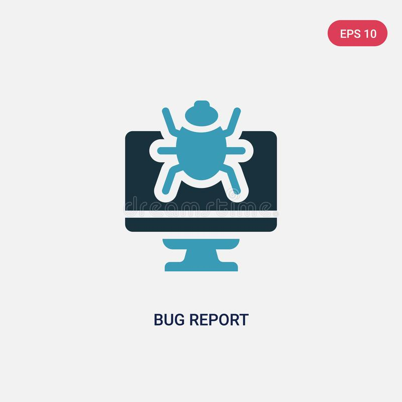 Two color bug report vector icon from programming concept. isolated blue bug report vector sign symbol can be use for web, mobile vector illustration