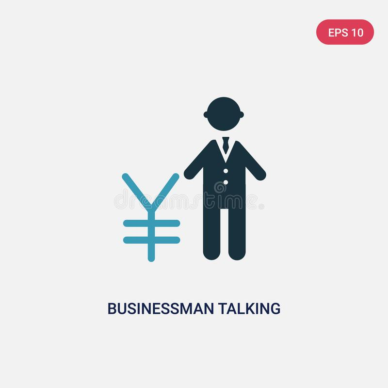 Two color businessman talking about yen vector icon from people concept. isolated blue businessman talking about yen vector sign vector illustration