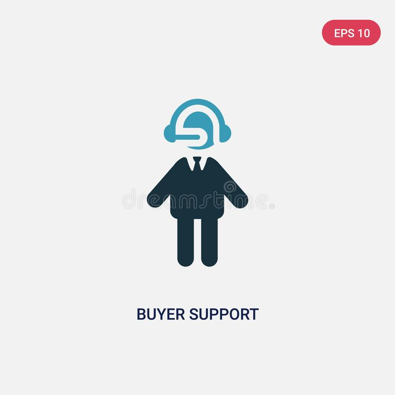 Two color buyer support vector icon from people concept. isolated blue buyer support vector sign symbol can be use for web, mobile vector illustration