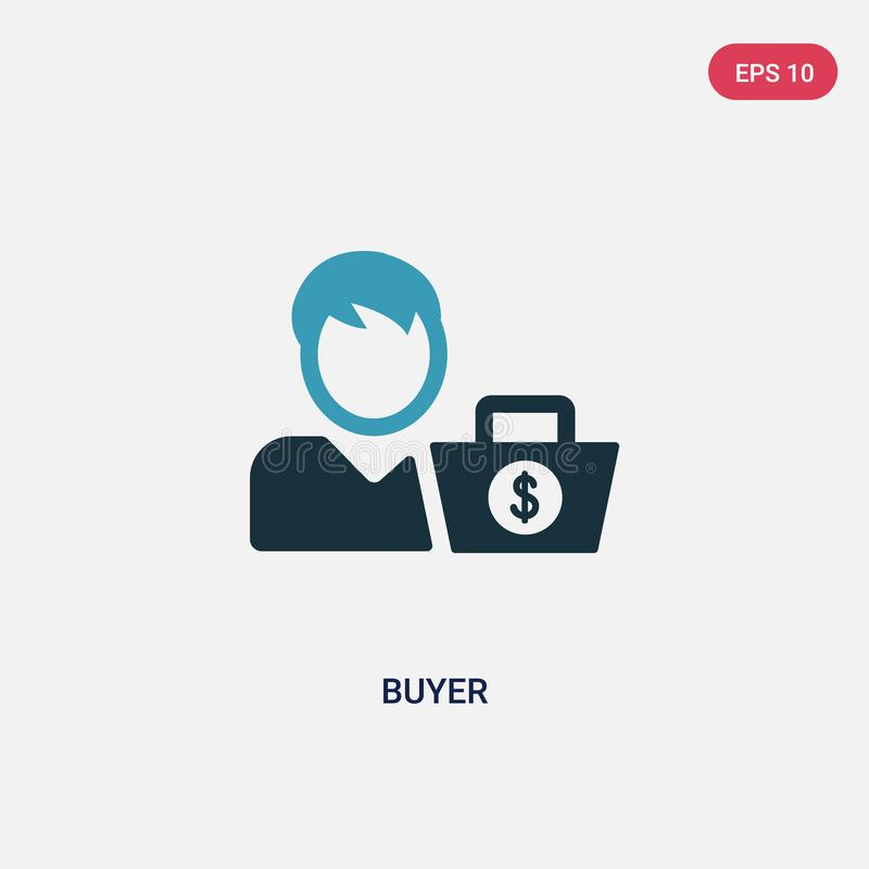 Two color buyer vector icon from payment methods concept. isolated blue buyer vector sign symbol can be use for web, mobile and. Logo. eps 10 vector illustration