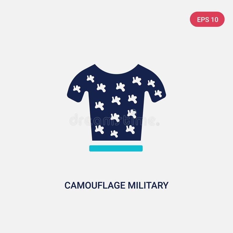 Two color camouflage military clothing vector icon from army and war concept. isolated blue camouflage military clothing vector stock illustration