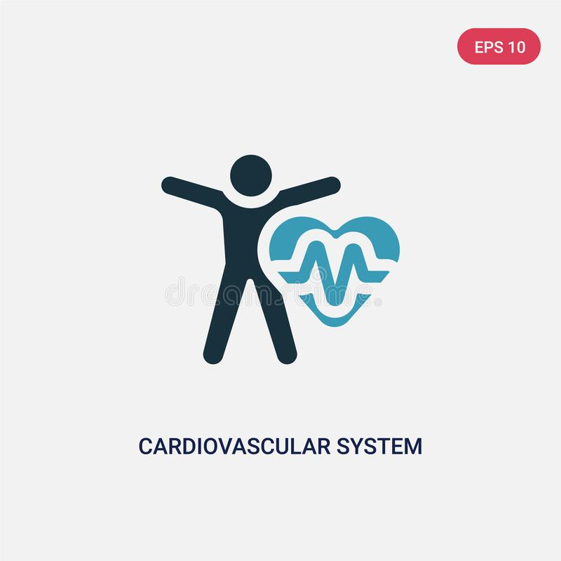 Two color cardiovascular system vector icon from sauna concept. isolated blue cardiovascular system vector sign symbol can be use vector illustration