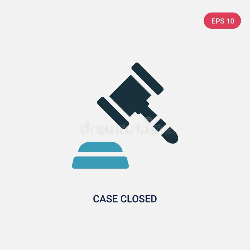 Two color case closed vector icon from law and justice concept. isolated blue case closed vector sign symbol can be use for web, royalty free illustration