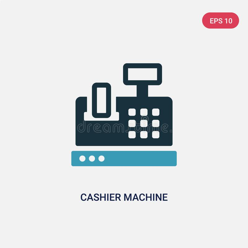 Two color cashier machine vector icon from payment concept. isolated blue cashier machine vector sign symbol can be use for web, royalty free illustration
