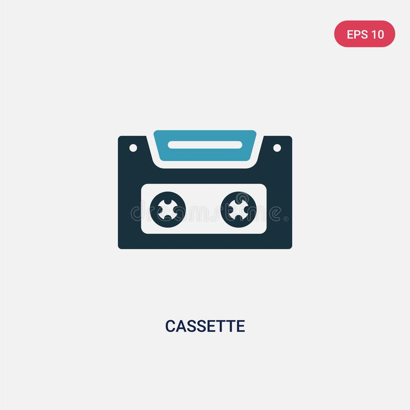 Two color cassette vector icon from summer concept. isolated blue cassette vector sign symbol can be use for web, mobile and logo vector illustration