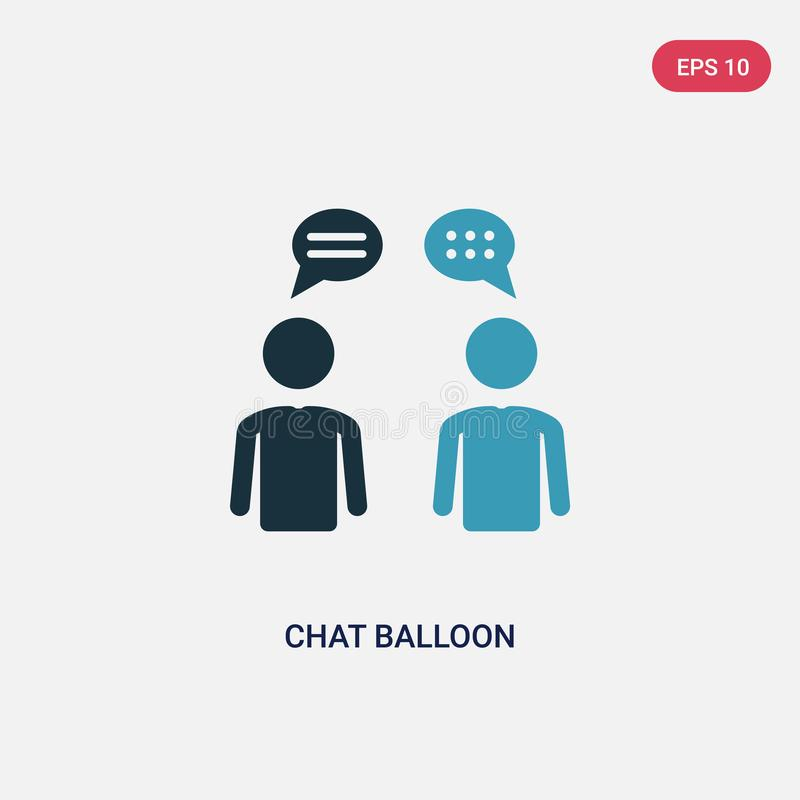 Two color chat balloon vector icon from people concept. isolated blue chat balloon vector sign symbol can be use for web, mobile royalty free illustration