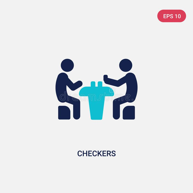 Two color checkers vector icon from activity and hobbies concept. isolated blue checkers vector sign symbol can be use for web,. Mobile and logo. eps 10 vector illustration
