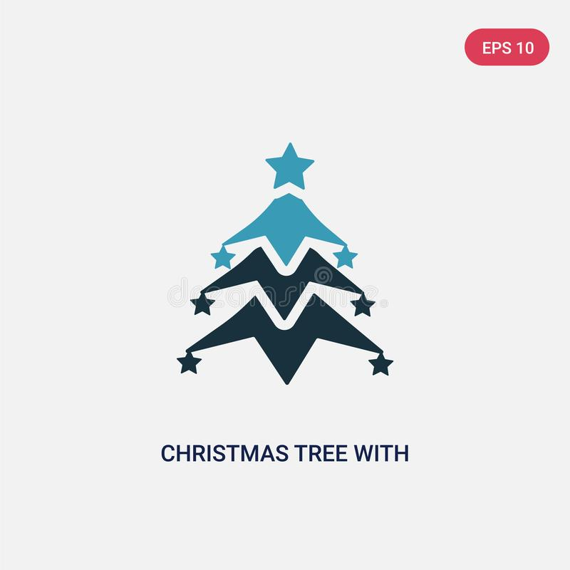 Two color christmas tree with star vector icon from shapes concept. isolated blue christmas tree with star vector sign symbol can vector illustration