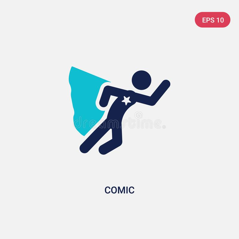 two color comic vector icon from activity and hobbies concept. isolated blue comic vector sign symbol can be use for web, mobile royalty free illustration