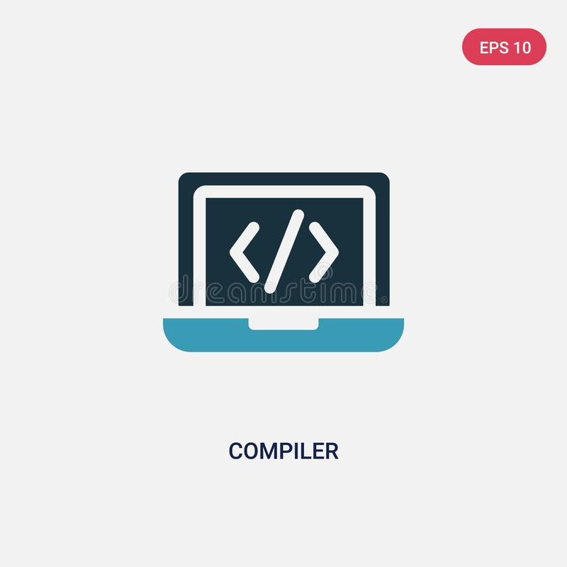 Two color compiler vector icon from programming concept. isolated blue compiler vector sign symbol can be use for web, mobile and royalty free illustration