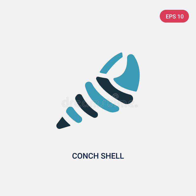 Two color conch shell vector icon from religion concept. isolated blue conch shell vector sign symbol can be use for web, mobile. And logo. eps 10 royalty free illustration