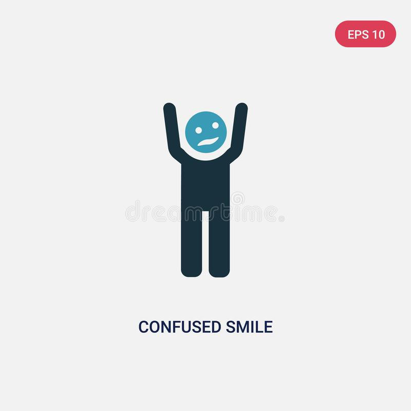 Two color confused smile vector icon from people concept. isolated blue confused smile vector sign symbol can be use for web, vector illustration
