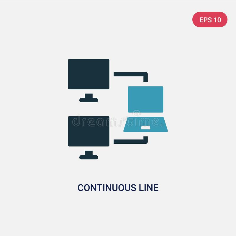 Two color continuous line vector icon from networking concept. isolated blue continuous line vector sign symbol can be use for web royalty free illustration
