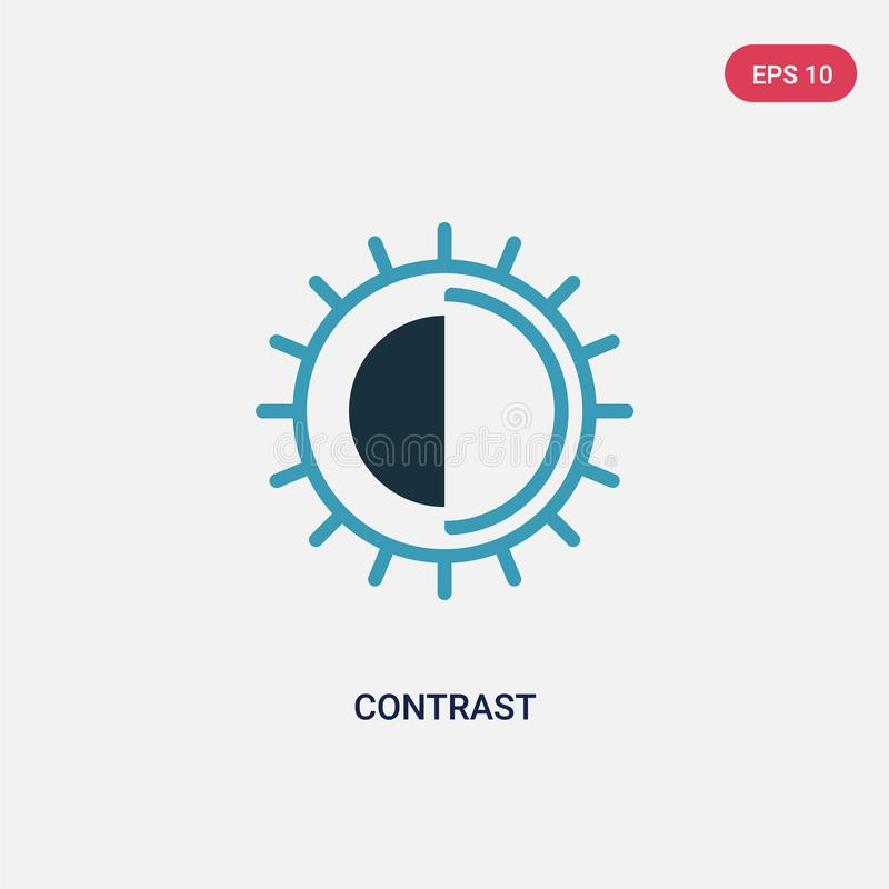 Two color contrast vector icon from photography concept. isolated blue contrast vector sign symbol can be use for web, mobile and royalty free illustration