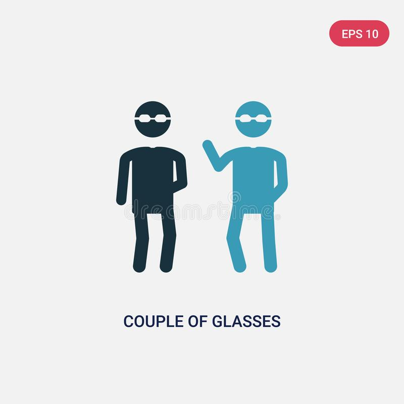 Two color couple of glasses vector icon from people concept. isolated blue couple of glasses vector sign symbol can be use for web vector illustration