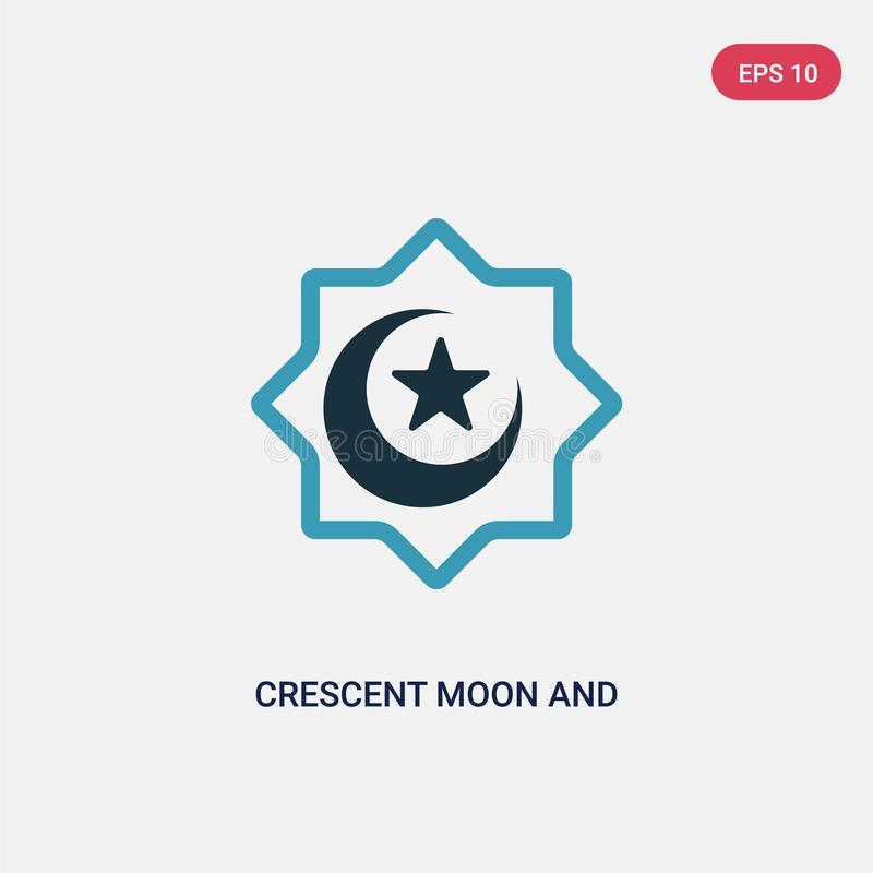 Two color crescent moon and star vector icon from religion concept. isolated blue crescent moon and star vector sign symbol can be vector illustration