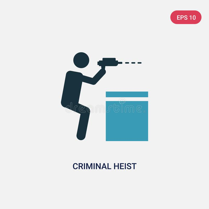 Two color criminal heist vector icon from people concept. isolated blue criminal heist vector sign symbol can be use for web, royalty free illustration