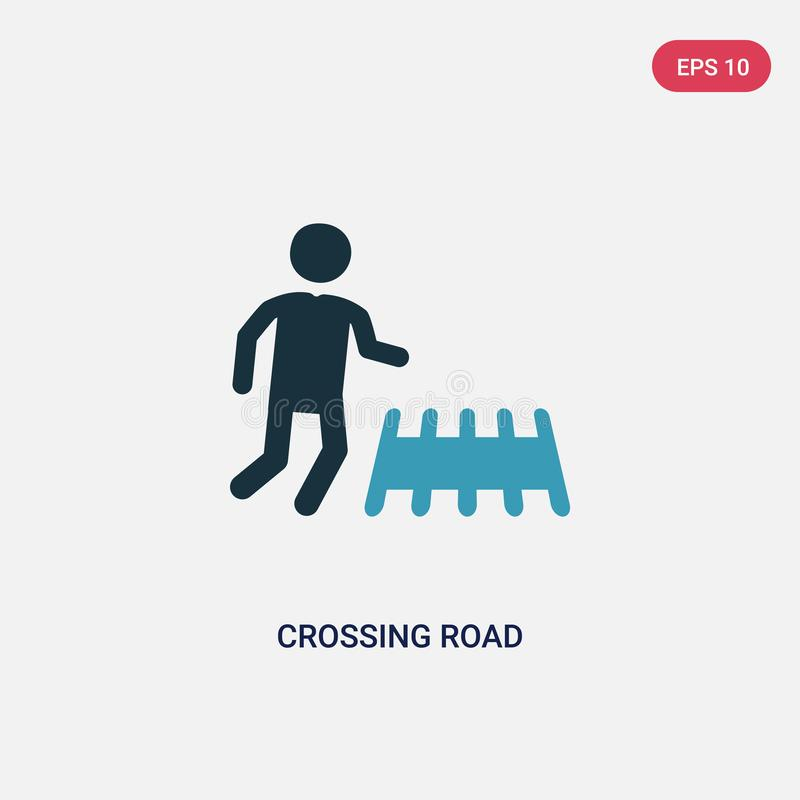 Two color crossing road vector icon from people concept. isolated blue crossing road vector sign symbol can be use for web, mobile stock illustration