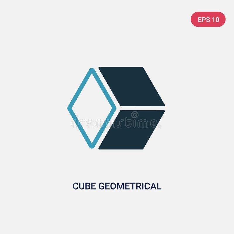 Two color cube geometrical vector icon from shapes concept. isolated blue cube geometrical vector sign symbol can be use for web,. Mobile and logo. eps 10 vector illustration