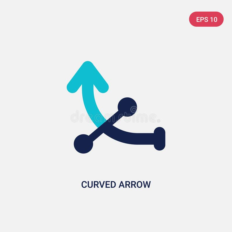 Two color curved arrow vector icon from arrows 2 concept. isolated blue curved arrow vector sign symbol can be use for web, mobile vector illustration