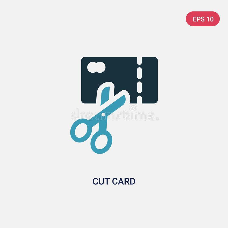 Two color cut card vector icon from payment concept. isolated blue cut card vector sign symbol can be use for web, mobile and logo royalty free illustration