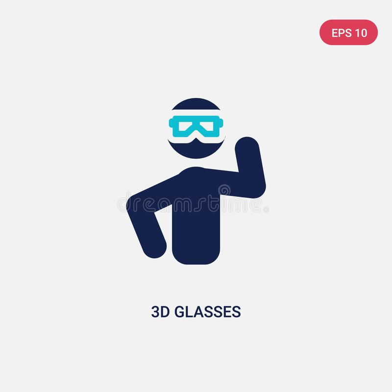 two color 3d glasses vector icon from outdoor activities concept. isolated blue 3d glasses vector sign symbol can be use for web, royalty free illustration