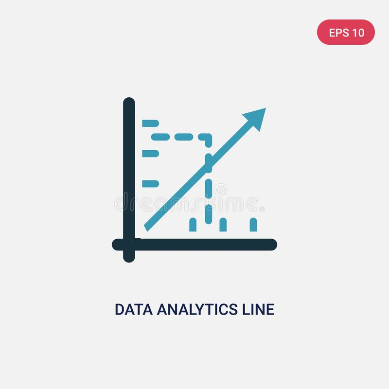 Two color data analytics line graphic vector icon from seo and web concept. isolated blue data analytics line graphic vector sign royalty free illustration