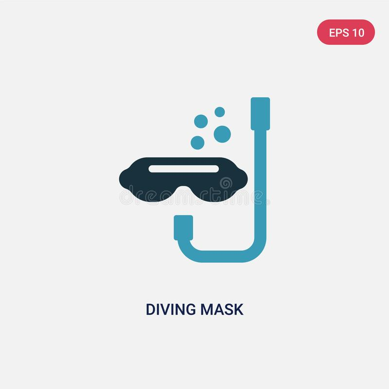 Two color diving mask vector icon from people skills concept. isolated blue diving mask vector sign symbol can be use for web, stock illustration