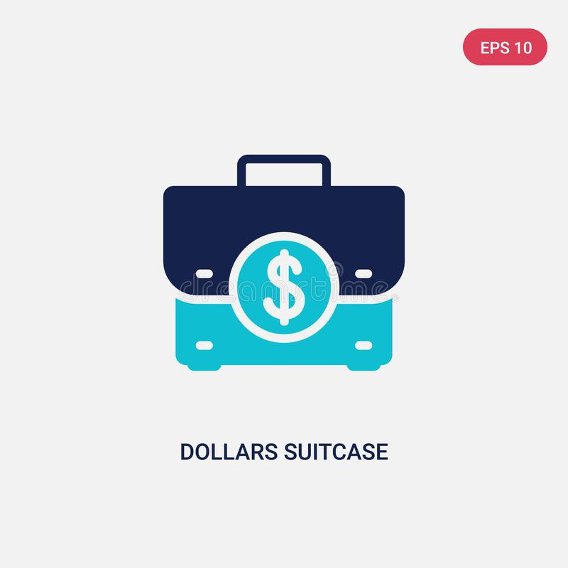 Two color dollars suitcase for business vector icon from business concept. isolated blue dollars suitcase for business vector sign vector illustration
