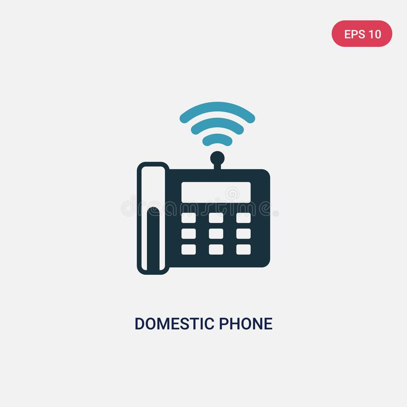 Two color domestic phone vector icon from networking concept. isolated blue domestic phone vector sign symbol can be use for web, royalty free illustration
