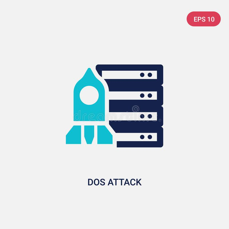 Two color dos attack vector icon from cyber concept. isolated blue dos attack vector sign symbol can be use for web, mobile and royalty free illustration