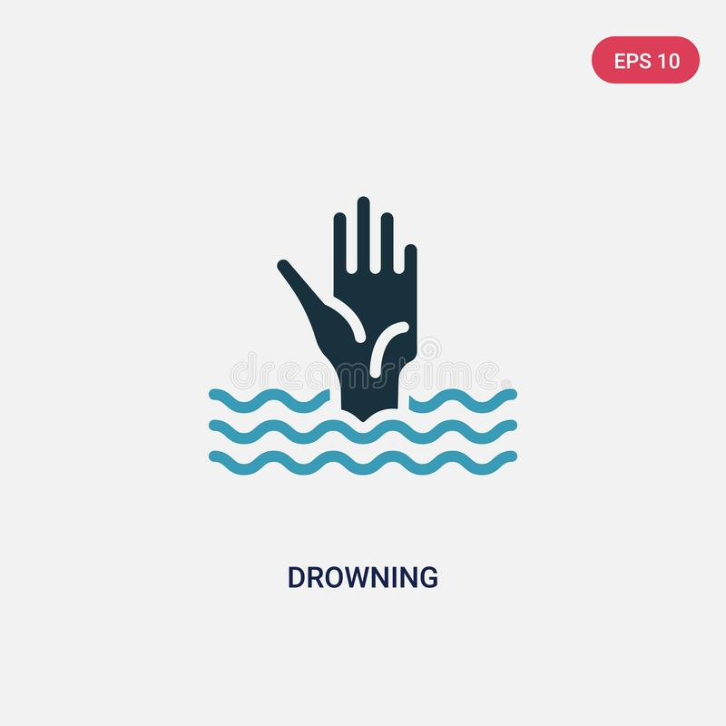 Two color drowning vector icon from security concept. isolated blue drowning vector sign symbol can be use for web, mobile and royalty free illustration