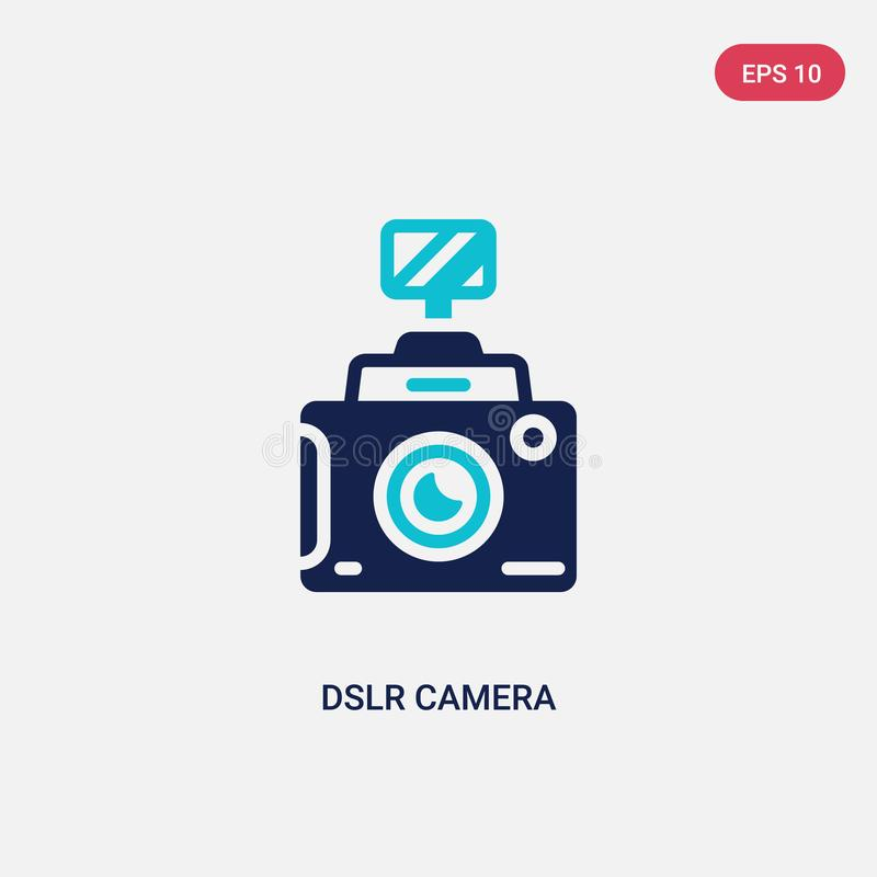 Free Two Color Dslr Camera Vector Icon From Cinema Concept. Isolated Blue Dslr Camera Vector Sign Symbol Can Be Use For Web, Mobile And Stock Image - 149148541