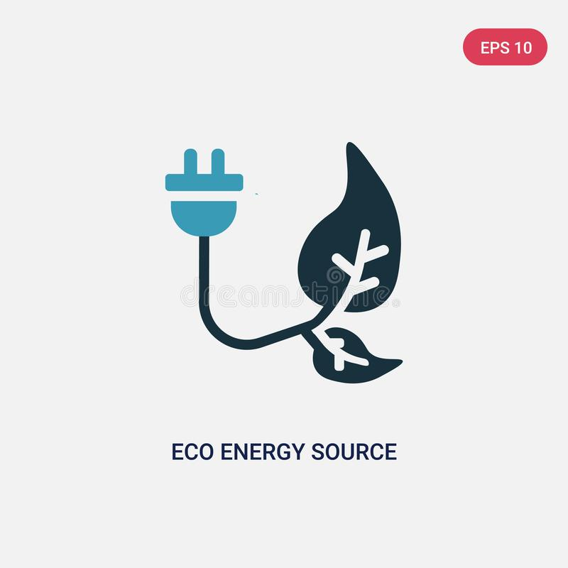 Two color eco energy source vector icon from nature concept. isolated blue eco energy source vector sign symbol can be use for web vector illustration