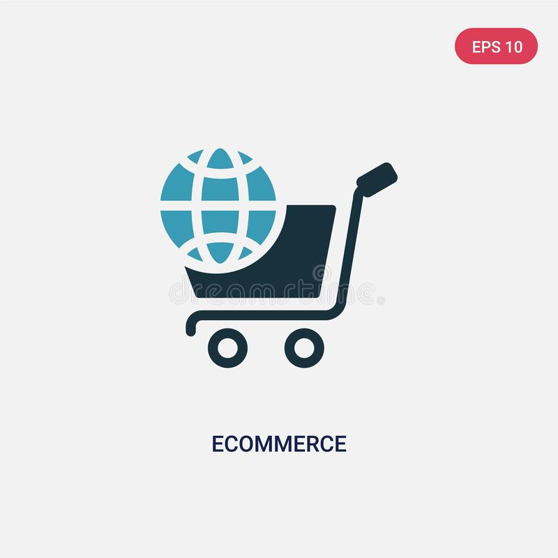 Two color ecommerce vector icon from social media marketing concept. isolated blue ecommerce vector sign symbol can be use for web royalty free illustration