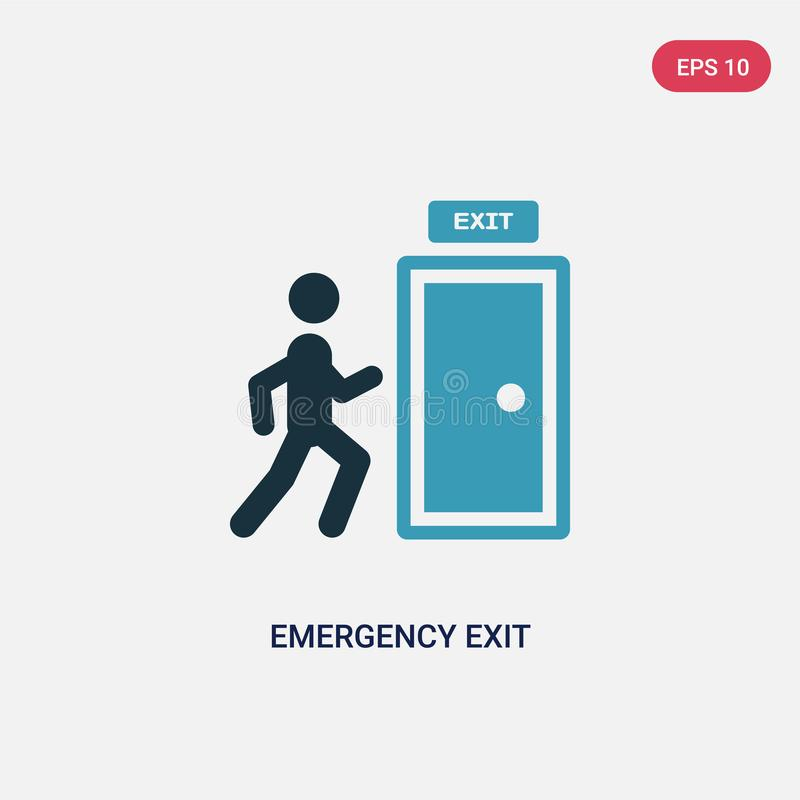 Two color emergency exit vector icon from signs concept. isolated blue emergency exit vector sign symbol can be use for web, royalty free illustration