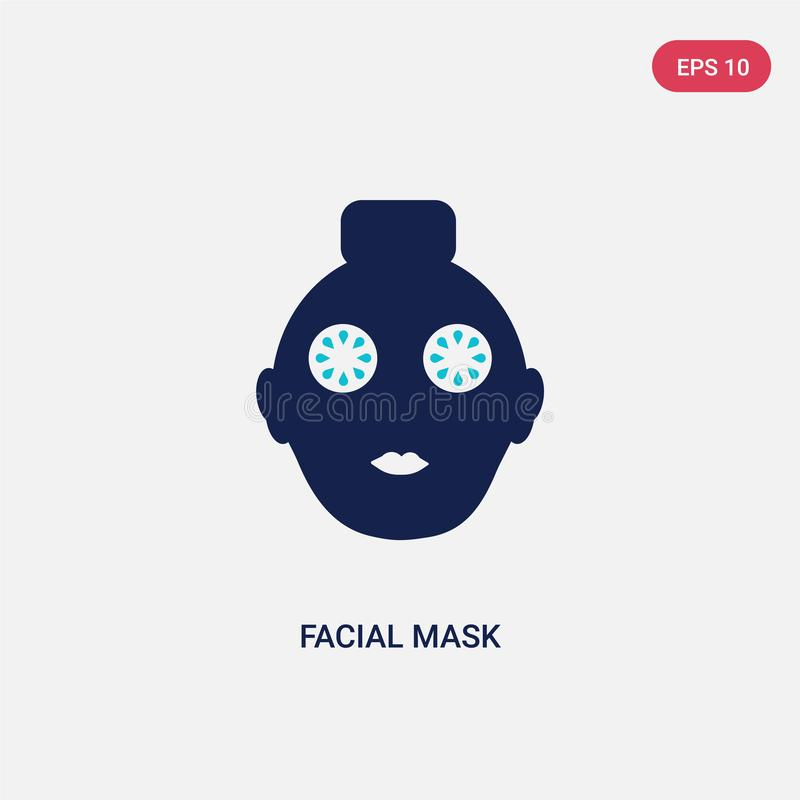 Two color facial mask vector icon from halloween concept. isolated blue facial mask vector sign symbol can be use for web, mobile. And logo. eps 10 royalty free illustration