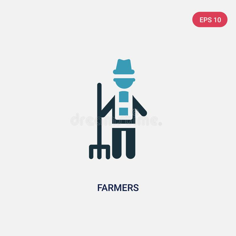 Two color farmers vector icon from people concept. isolated blue farmers vector sign symbol can be use for web, mobile and logo. stock illustration