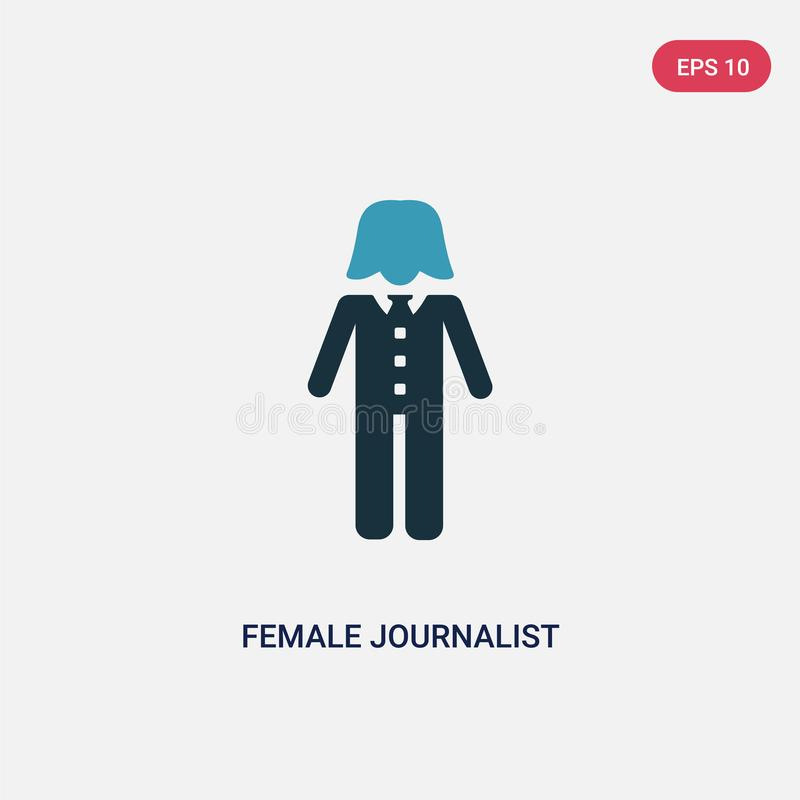 Two color female journalist talking about science news vector icon from people concept. isolated blue female journalist talking vector illustration