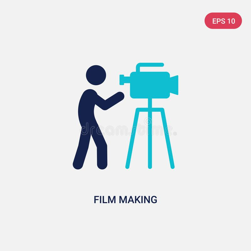 two color film making vector icon from activity and hobbies concept. isolated blue film making vector sign symbol can be use for vector illustration
