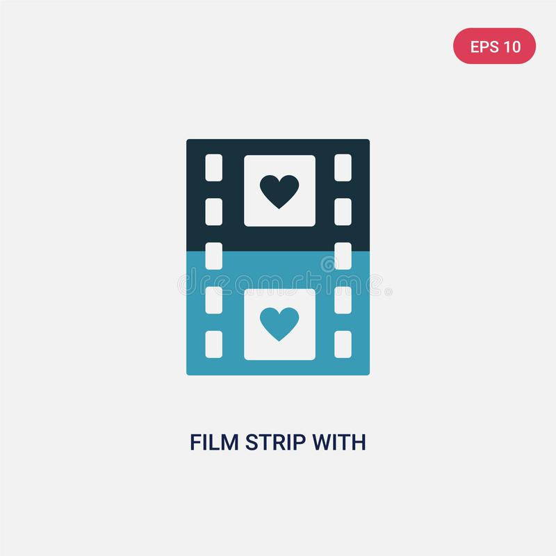 Two color film strip with heart vector icon from shapes concept. isolated blue film strip with heart vector sign symbol can be use stock illustration