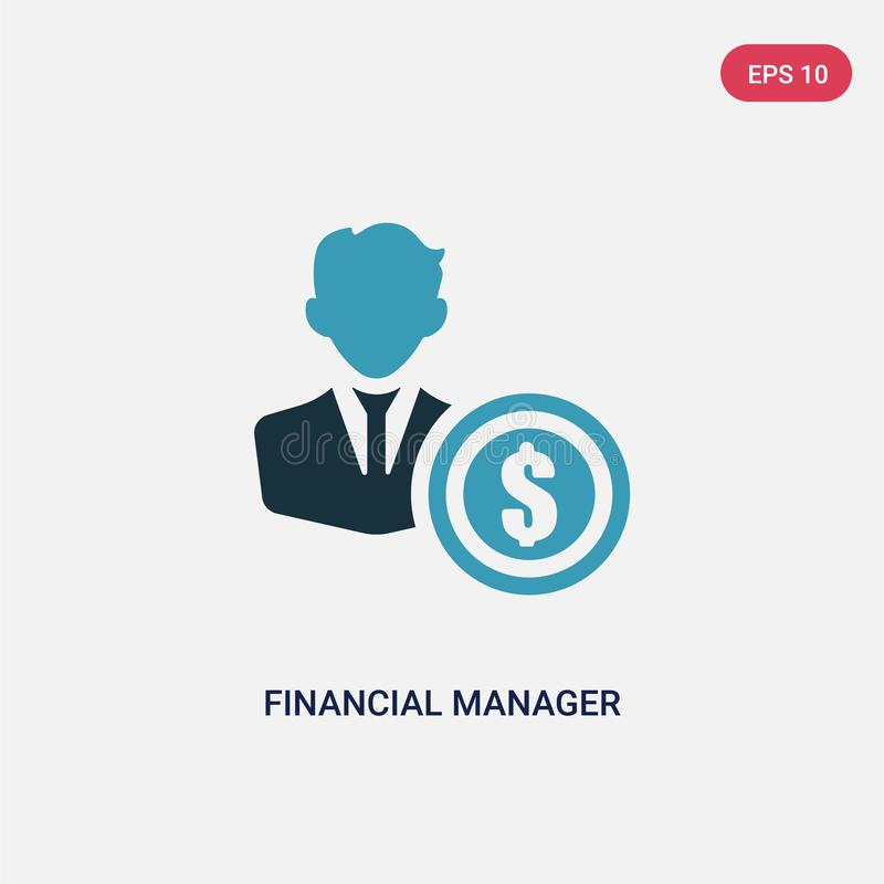 Two color financial manager vector icon from professions concept. isolated blue financial manager vector sign symbol can be use royalty free illustration