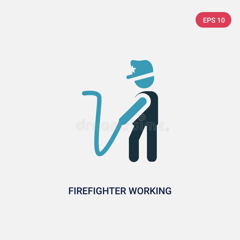 Two color firefighter working vector icon from people concept. isolated blue firefighter working vector sign symbol can be use for vector illustration