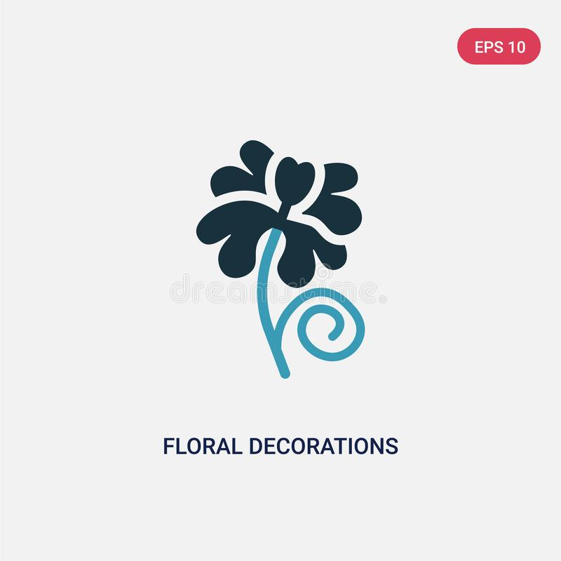 Two color floral decorations vector icon from nature concept. isolated blue floral decorations vector sign symbol can be use for vector illustration
