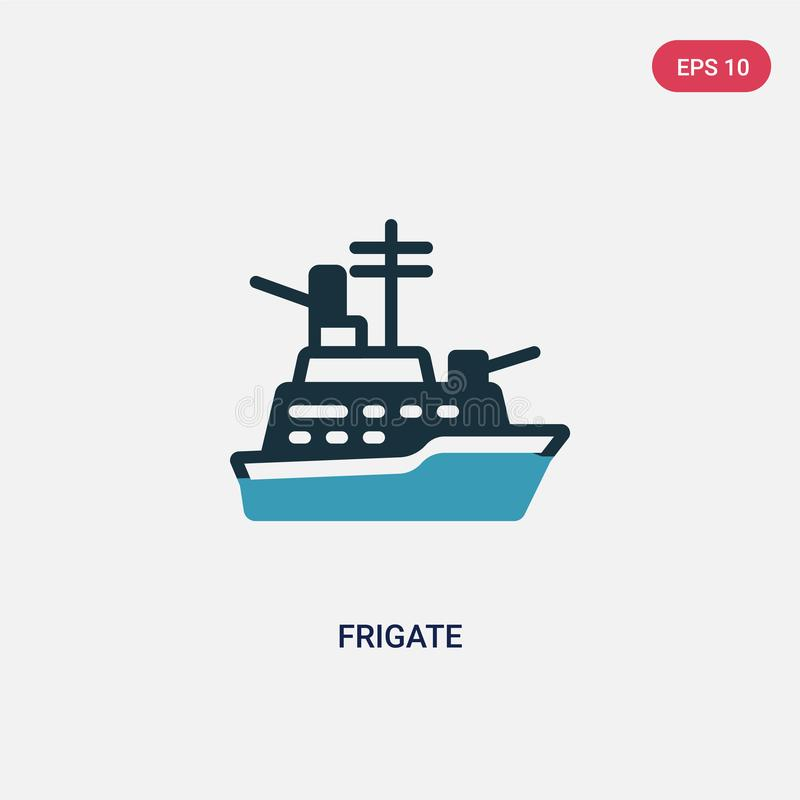 Two color frigate vector icon from nautical concept. isolated blue frigate vector sign symbol can be use for web, mobile and logo. Eps 10 royalty free illustration