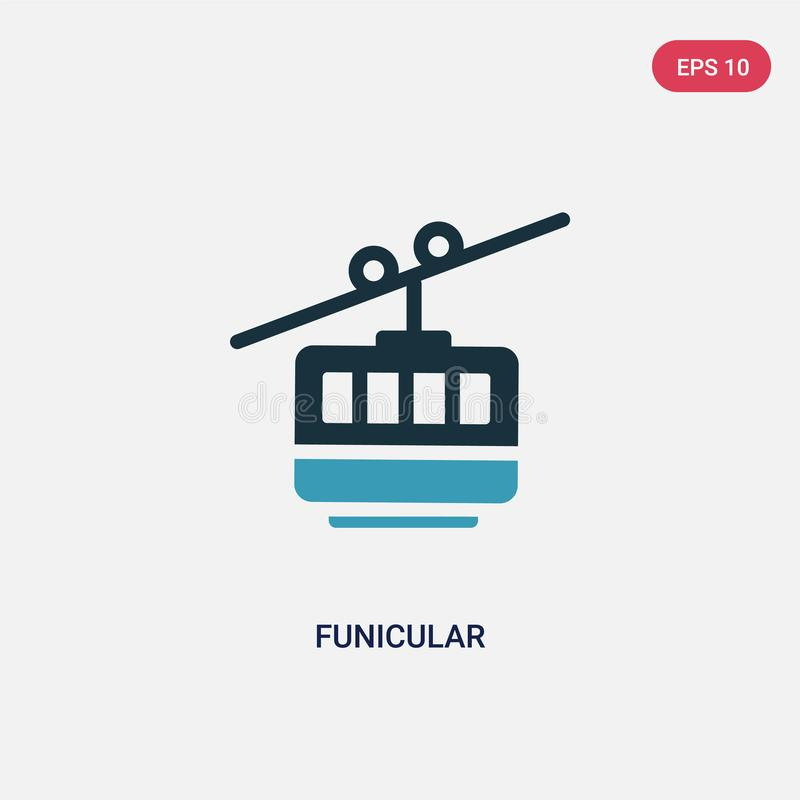 Two color funicular vector icon from summer concept. isolated blue funicular vector sign symbol can be use for web, mobile and vector illustration