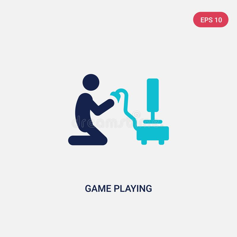 two color game playing vector icon from activity and hobbies concept. isolated blue game playing vector sign symbol can be use for royalty free illustration