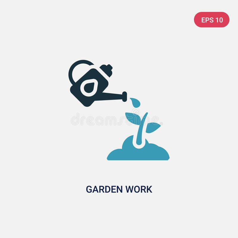 Two color garden work vector icon from other concept. isolated blue garden work vector sign symbol can be use for web, mobile and royalty free illustration